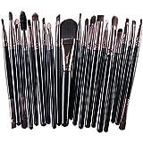 Kolight 20pcs Cosmetic Makeup Brushes Set Eyeshadow Lip Brush for Beautiful Female (Black+Coffee)