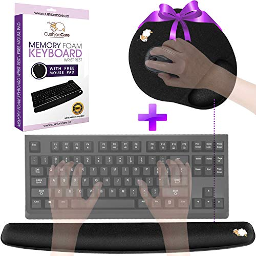 Keyboard Wrist Rest Pad - Full Mouse Pad Included for Set - Quality Memory Foam Cushion - Ergonomic Support – New & Improved Shape - Prevent Carpal Tunnel & RSI When Typing on Computer, Mac & Laptop