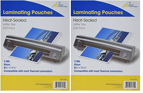 Royal Sovereign, SCR-003, Thermal Laminating Film, 200 Pack (2-Pack)
