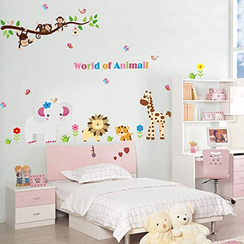(Atiehua Wall Stickers Forest Monkey Tiger Lion Elephant Giraffe Animal Wall Sticker For Kids Rooms Decorative World Of Animal Pvc Wall Decal Poster)