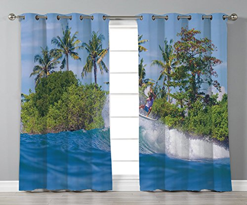 Track Panel Bali (Thermal Insulated Blackout Grommet Window Curtains,Ride The Wave,Surfer in Ocean by Bali Island Palm Trees Dreamy Nature Scenery,Fern Green Violet Blue,2 Panel Set Window Drapes,for Living Room Bedroo)
