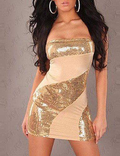 PU&PU Robe Aux femmes Grandes Tailles Sexy / Soirée , Mosaïque Sans Bretelles Mini Coton / Spandex , gold-l , gold-l