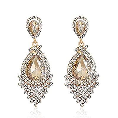 Long Full Rhinestone Teardrop Crystal Dangle Chandelier Drop Earrings Fashion Jewelry