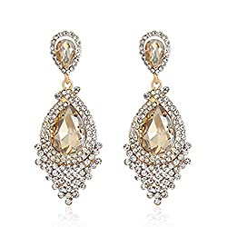 Rhinestone Teardrop Crystal Dangle Earrings