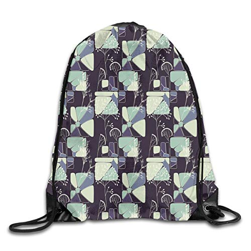 2019 Funny Drawstring Backpacks Bags Daypacks,Geometric Soft Shapes With Flower Silhouettes Spring Summer Print,Adjustable For Sport Gym Traveling -