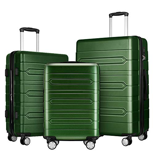 (Fochier 3 Piece Luggage Sets Expandable Hard Shell Suitcase 4 Spinner Wheels with TSA Lock Army Green)
