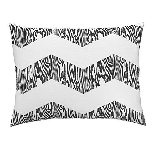 Roostery Chevron Stripe Zebra Wood Zig Black White Euro Knife Edge Pillow Sham Chevron Safari ~ Black And by Peacoquettedesigns 100% Cotton Sateen (Sham Stripe Safari Euro)
