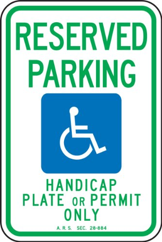 Accuform FRA186RA Engineer-Grade Reflective Aluminum Handicapped Parking Sign (Arizona), Legend
