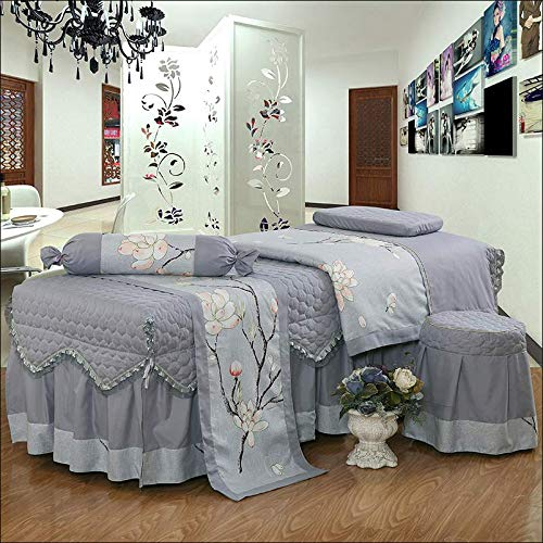 Elastic Solid 4pcs Bedding Set,Ruffled Edge Lightweight Beauty Bed Cover Set Bedspread Duvet Cover Set Beauty Salon Massage spa-F 185x70cm(73x28inch)