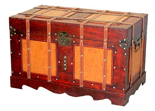 Large Antique Style Steamer Trunk, Decorative Storage Box (Antique Trunks Steamer)