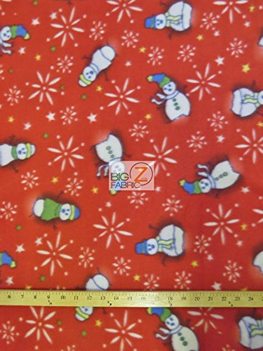 christmas polar fleece fabric sold by the yard baby blanket winter snowman red