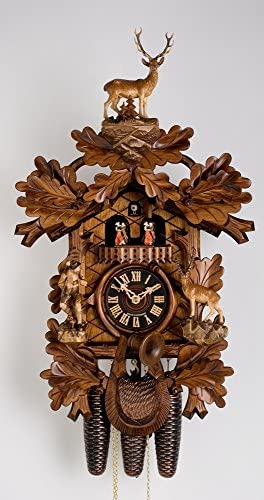 8 Day Musical Black Forest Traditional Carved Hunter Cuckoo Clock by H nes