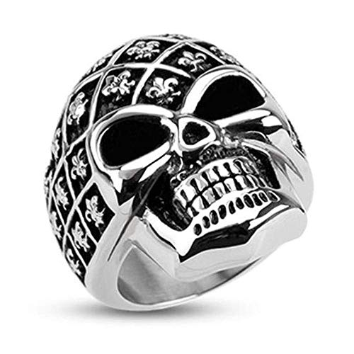 Covet Jewelry Fleur De Lis Pattern Decorated Skull Wide Cast Ring Stainless Steel (Width: 1.18