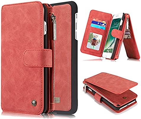 Amazon.com: iPhone 7 Caso, iPhone 7s Zipper Wallet Case ...