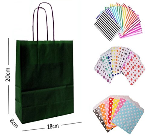 1 x DARK GREEN PARTY PAPER GIFT BAGS – WITH MATCHING CANDY STRIPE SWEET BAG