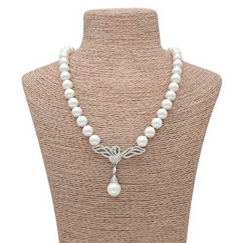 Sarah Coventry Chain (Wild Wind (TM) Valentine's Collars Pearl Strands with Diamond Swan Wing Pandent Necklaces)