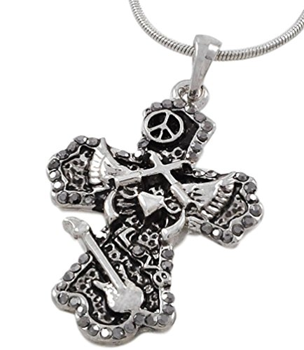 Rock and Roll Silver Cross Pendant Necklace 17