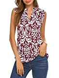 Halife Women's Sleeveless Floral Print V Neck Henley Tank Tops Blouse Shirts Tunic (M, Wine Red)