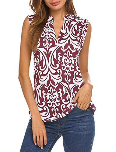 Halife Women's Sleeveless Floral Print V Neck Henley Tank Tops Blouse Shirts Tunic (L, Wine Red)