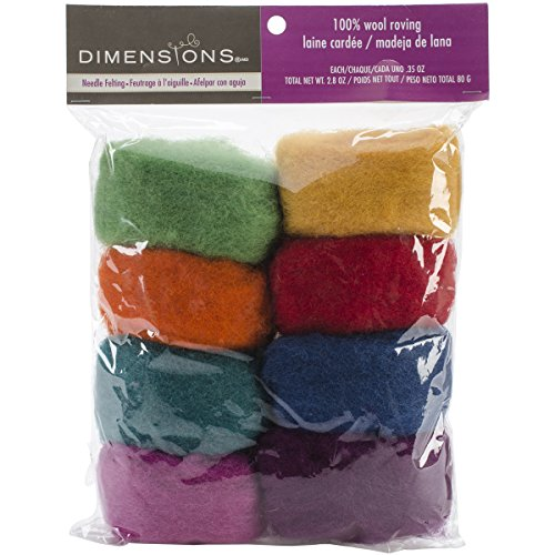 Dimensions Needlecrafts Rainbow Wool Roving for Needle Felting, 8 pack, 80g ()