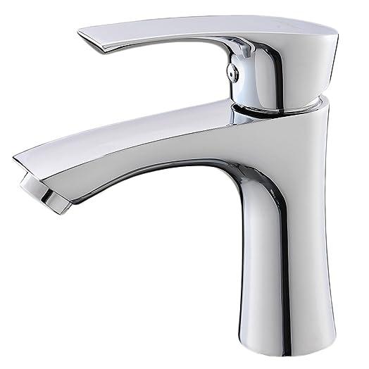 VAPSINT® Modern Cloakroom Solid Stainless Steel Single Lever Washroom  Monobloc Mono Vessel Sink Chrome Bathroom