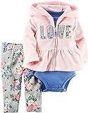 Carter's Baby Girls' Cardigan Sets, Pink/Love, 3 Months