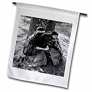 Scenes from the Past Vintage Stereoview - Little Hiawatha Grayscale - 12 x 18 inch Garden Flag (fl_6807_1)