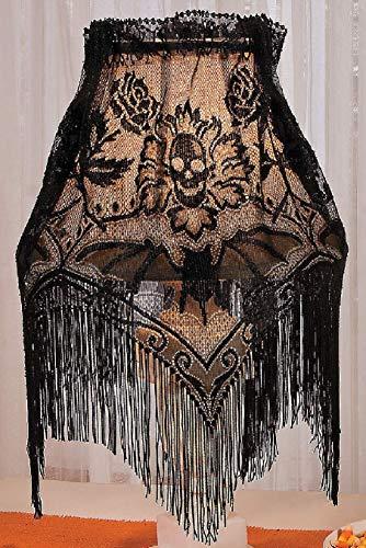 Black Fringed Lace Multi-use Decorative Accent W/roses & Sugar Skulls