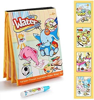 Fansteck Agua Dibujo Pintura, Libro Mágico de Colorear para niños, Libros Infantiles de Agua Doodle, Juguete de Watercolor Drawing Book, Regalo Ideal ...
