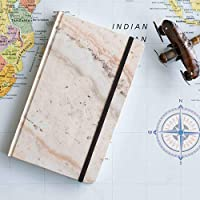 Cuaderno chico mármol rosa interior puntos pasta suave
