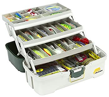 Plano 3-tray Tackle Box With Dual Top Access, Dark Green Metallicoff White 1