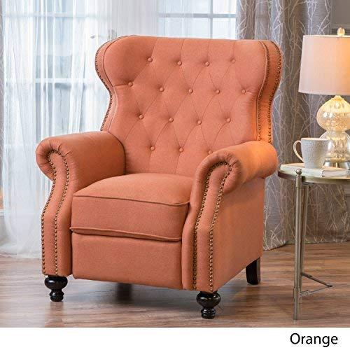 Queen Ann Legs Fabric - Waldo Tufted Wingback Recliner Chair(Orange)
