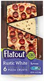 FLATOUT Flatbread - Thin Pizza Crust RUSTIC WHITE - Weight Watchers 4 SmartPoints value per Pizza Crust (1 Pack of 6 Pizza Crusts)