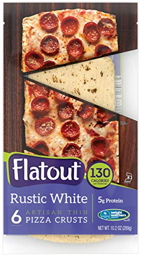 FLATOUT Flatbread - Thin Pizza Crust RUSTIC WHITE - Weight Watchers 4 SmartPoints value per Pizza Crust (2 Packs of 6 Pizza Crusts)
