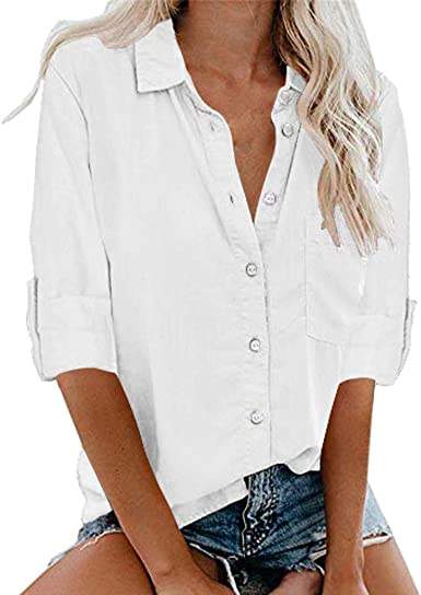 SEWORLD Blusa Camisa Casual de Manga Larga con Botones de Color Sólido para Mujer(Negro, Blanco, Verde Ejército, Gris, Vino,S/M/L/XL/XXL/XXXL/XXXXL/XXXXXL): Amazon.es: Ropa y accesorios