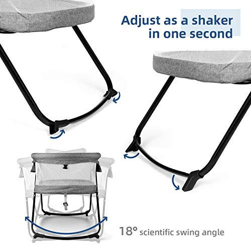 51hSnZaew%2BL - CRZDEAL 2-in-1 Stationary One-Second Fold Travel Crib Portable