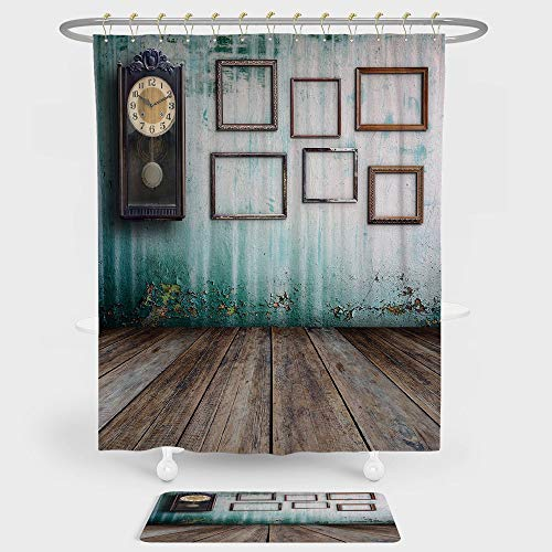 iPrint Clock Decor Shower Curtain And Floor Mat Combination Set A Vintage Clock and Empty Picture Frames in an Old Room Wooden Backdrop For decoration and daily use Green and - Clock Mixer Vintage