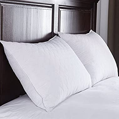 Pillows for Sleeping 2 Pack, Serta Queen Bed Pillows Set, Home Soft Best Comfort sleep pillow set, Bonus of a Prestee Elegant Double-Stitched Pillowcase
