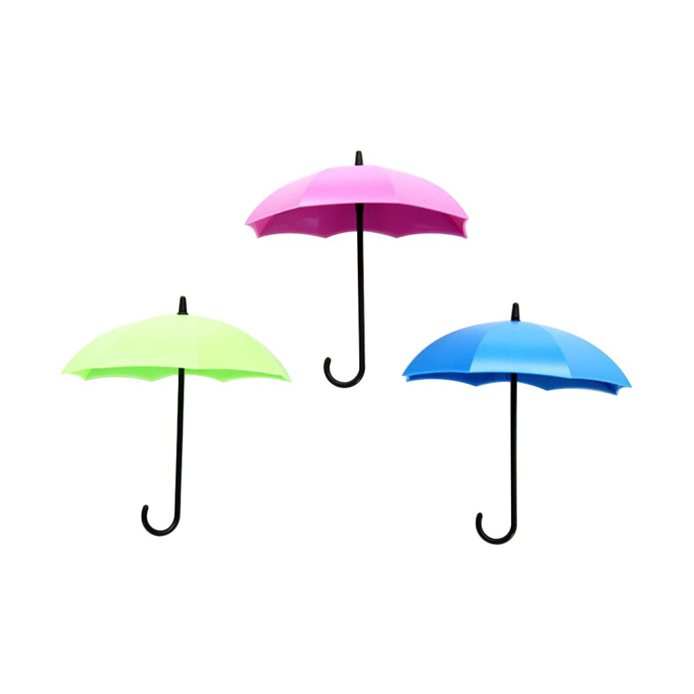 super1798 3Pcs Colorful Umbrella Wall Hanging Hook Key Hair Pin Holder Decorative Organizer (Green + Blue + Purple)
