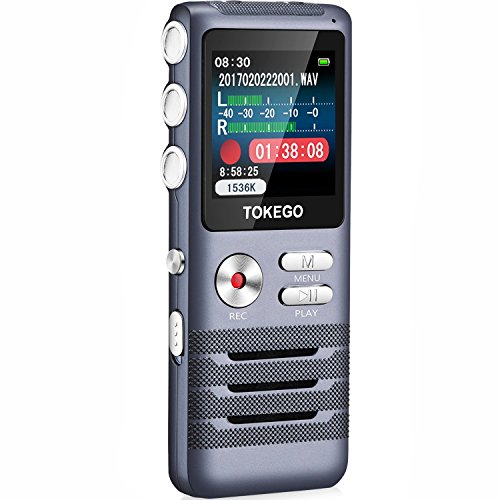 Digital Voice Recorder-Tokego 700 Hours Rechargeable 8GB Audio Sound Recorder Dictaphone, Noise Cancelling Voice Activated Recorder for Lectures, Meeting with MP3 Player, A-B Repeat, USB (Sliver) (Purpose Multi Recorder Time Electronic)