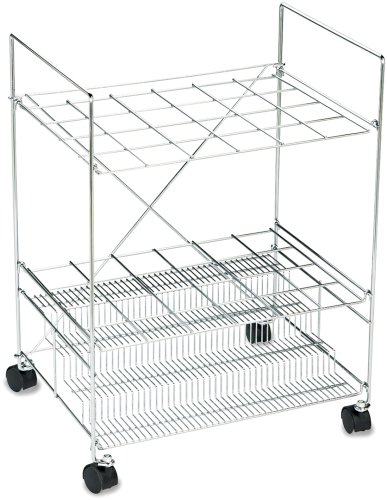 Safco Upright Roll - Safco Products 3089 Chrome Wire Roll File, 24 Compartment, Chrome