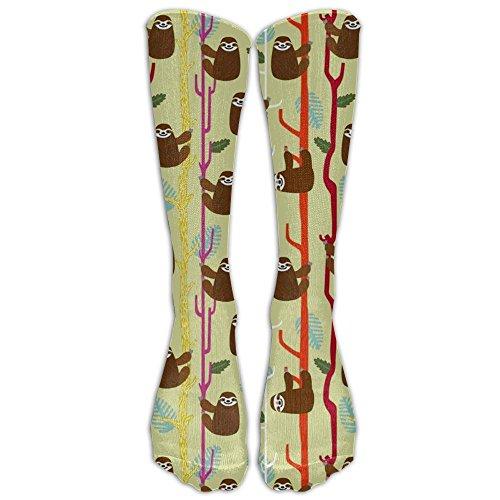 CKDKE2 Premium Kawaii Sloths Womens Girls Knee High Socks Crazy Fun Color Novelty Printed Gift Over-the-Calf Socks For Diabetes,Arthritis Or Sensitive Feet Cotton Stockings Crew Socks (Kawaii Friday Halloween)
