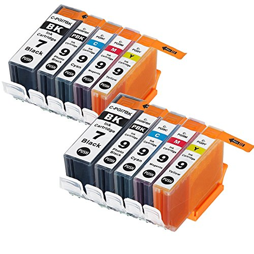 LiC-Store 10x (2 Big Black,2 Small Black, 2 Cyan, 2 Magenta, 2 Yellow)Compatible for Canon PGI-7 , PGI-9 for use with Canon IX7000 RFB, PIXMA MX7600, PIXMA iX7000. Ink Cartridges (Pixma Ix7000 Inkjet Printer)