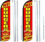 Burgers Best In Town King Windless Flag Sign With Complete Hybrid Pole set - Pack of 2