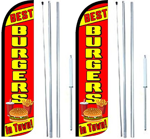 Burgers Best In Town King Windless Flag Sign With Complete Hybrid Pole set - Pack of 2 by OnPoint Wares