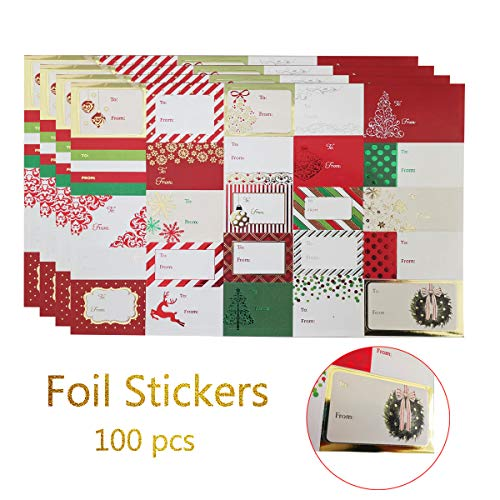 Christmas Sticker Labels,Self Adhesive Gift Stickers Holiday Gift Name Decals for Present/Wrapping Paper Decorations (100 Count) (Christmas Lables)