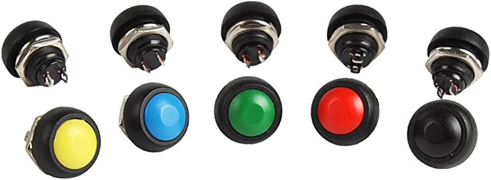 20PCS 12mm Momentary ON//OFF Push Button Mini Round Switch Waterproof Red