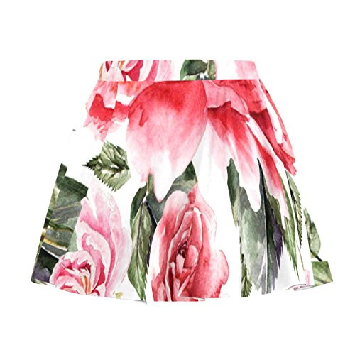 My Little Nest Women's A Line Watercolor Roses Peonies Pleated Skirt With Elastic Waist XXXL (Rose Watercolor Skirt Print)