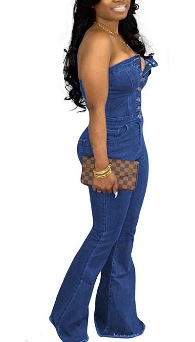SHOWNO Womens Flare Bell Bottoms Denim Buttons Strapless Romper Jumpsuits
