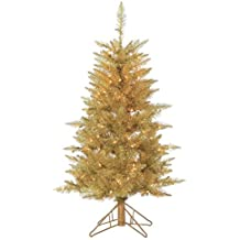 sterling tree company 4ft pre lit premium champagne tuscany artificial christmas tree w 150 - Sterling Christmas Trees